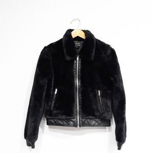 Forever 21 Faux Fur Leather Trimmed Jacket